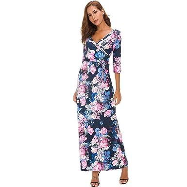 Kleid Lang Damen Drucken Sommerkleid Casual Minikleid Elegant Kleider Party  Freizeitkleid Locker Strandkleider (Blau, 36317b933a