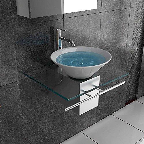 Badmöbel aus Glas / Waschplatz / Waschtische für Ihr exklusives Bad Badezimmer / Designer Waschtisch / Serie 120 / Keramik - Klarglas / Waschplatz