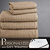 Luxor Linens Turkish Towels Hammam Collection 100% Combed Extra Long Staple Egyptian Cotton 6-Piece Towel Set - Latte - His & Hers - Signature Gift Packaging Included! The Perfect Anniversary Gift!
