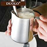 Milk Pitcher - Duolo Stainless Steel Creamer Coffee Milk Frothing Pitcher Cup With Dripless Pouring Spout - Perfect for Espresso Machine,Cappuccino Hot Milk Frother and Latte Maker