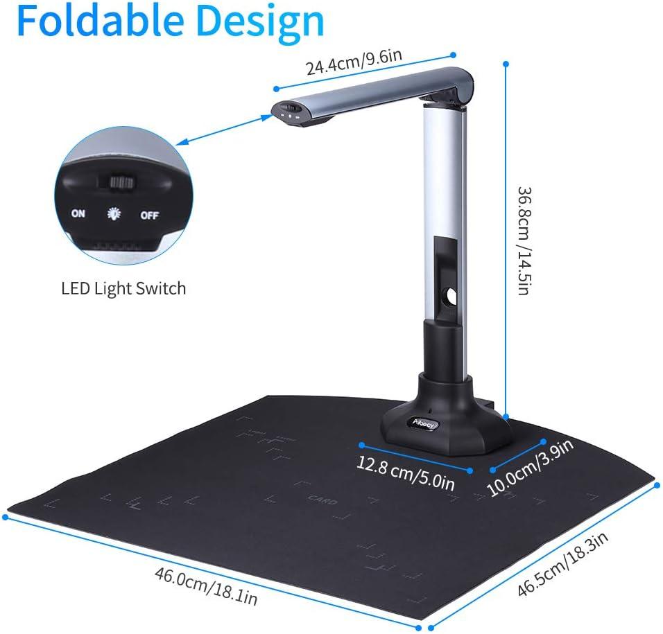 Fotocamera per documenti Entweg Fotocamera portatile per libri e documenti BK52 Dimensioni di acquisizione A3 HD Scanner ad alta velocit/à USB 2.0 da 10 megapixel con luce LED