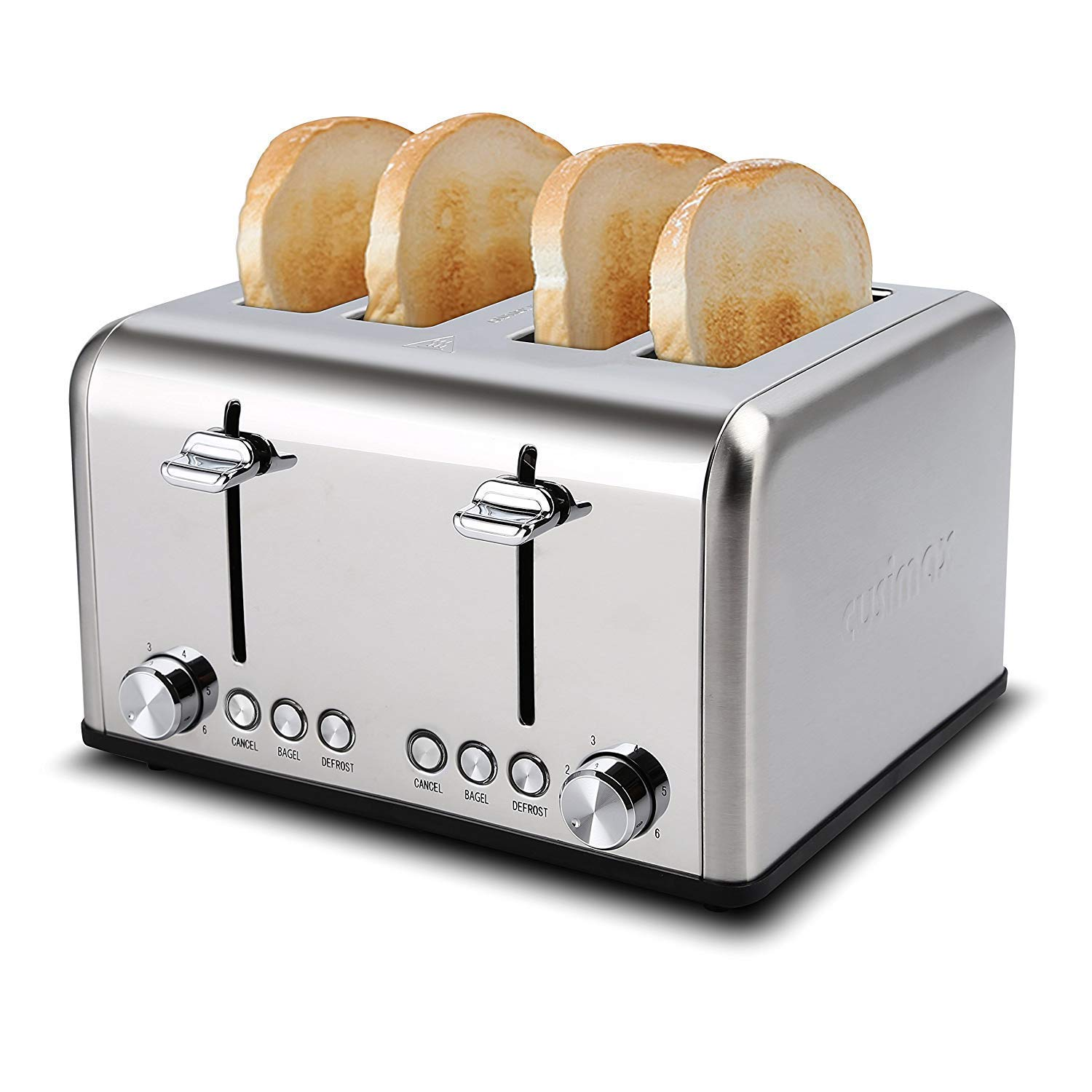 Cusimax 4 Slice Toaster, Extra Wide Slot with BAGEL/DEFROST/CANCEL Function, Bagel Toaster, Stainless Steel Four Slice Toaster 6 Shade Settings