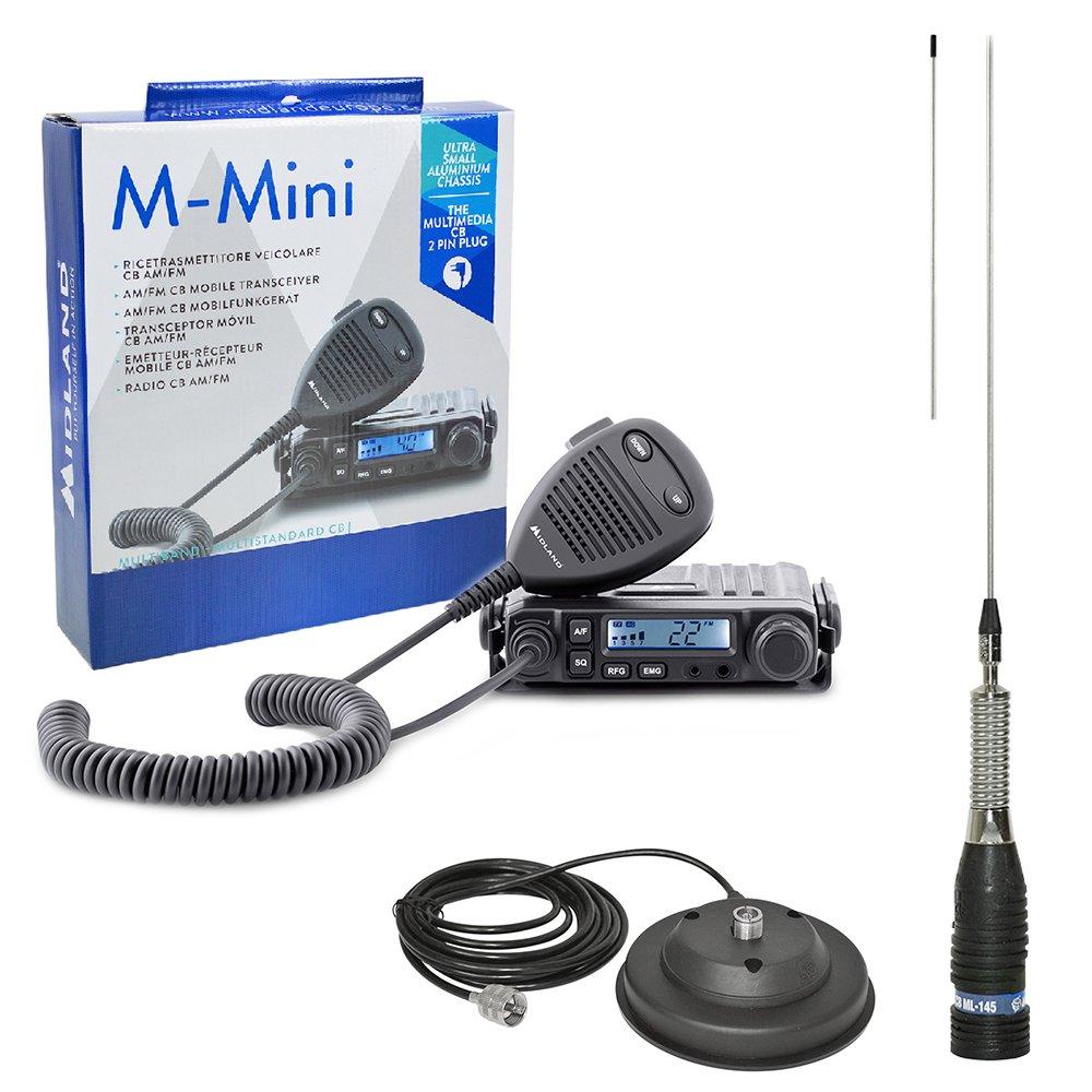 Midland Radio CB-Kit M-Mini avec fiche Allume-Cigare Inclus dans la Livraison ml145Antenne CB