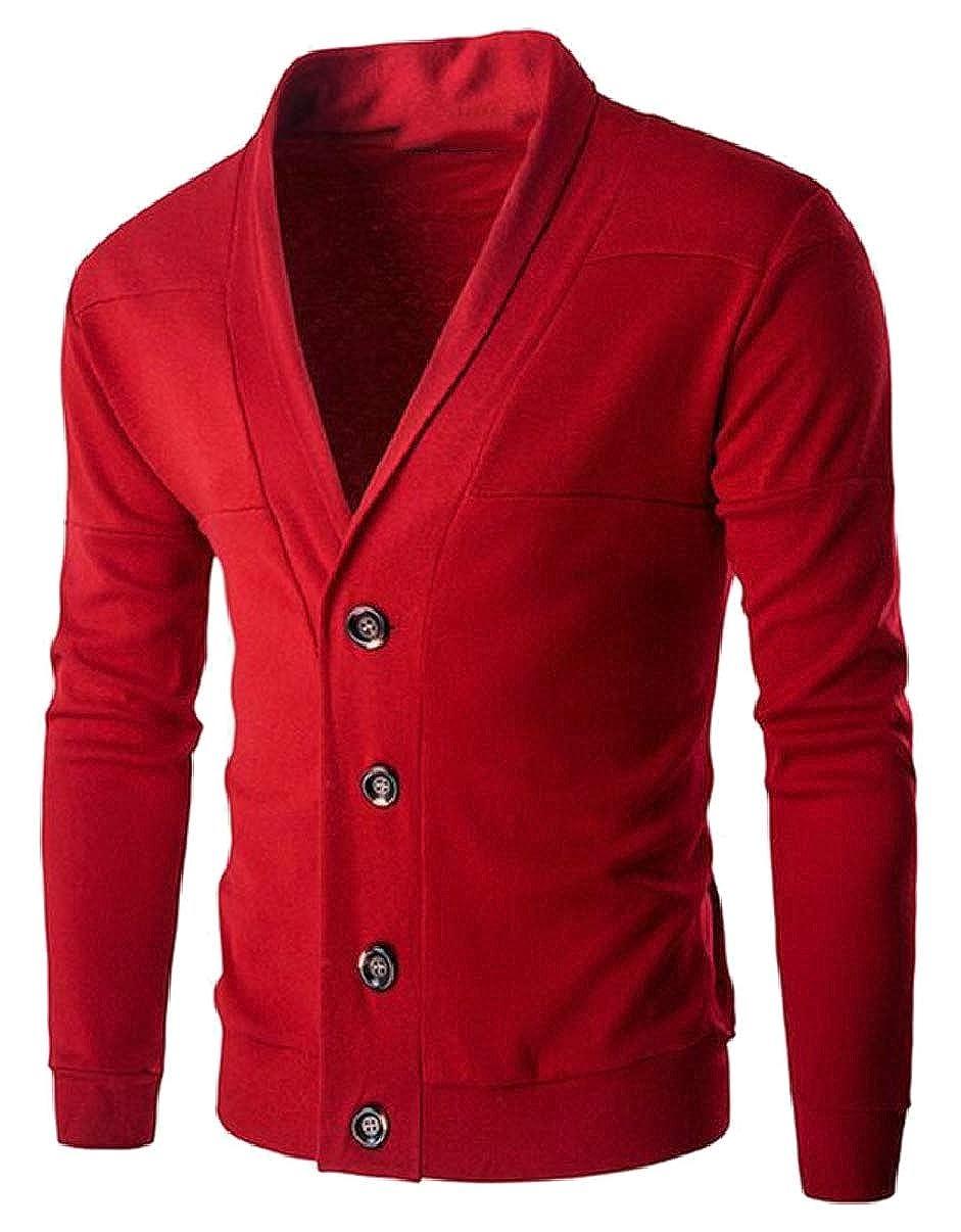 YIhujiuben Mens Cardigan Sweater Long Sleeve Button Down V-Neck Sweaters