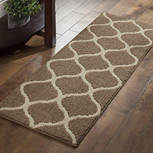 Maples Rugs Kitchen Rug Set - Rebecca [3pc Set] Non Kid Accent Throw Rugs Runner [Made in USA] for Entryway and Bedroom, Café ()