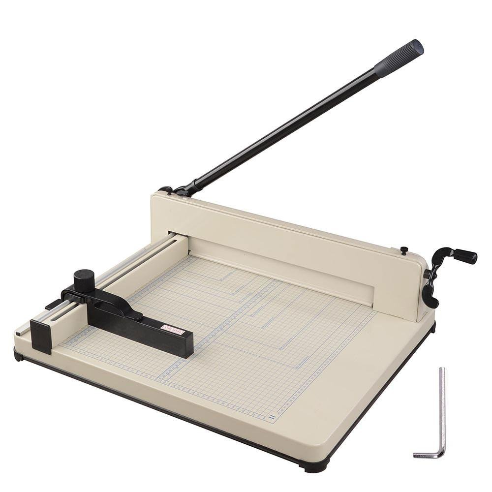 Amzdeal ® 17'' Steel Heavy Duty Manual Guillotine Paper Cutter Trimmer Machine White w/ Inches Ruler Capacity 400 Sheets A3 for Office Commercial Photocopy Printing Shop by Amzdeal