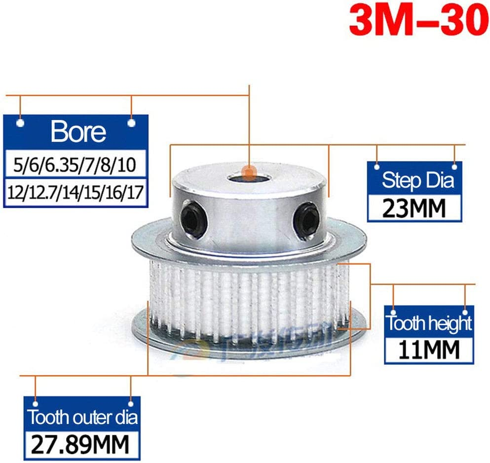 3M 17T, Bore:5mm 3Mod 17T Pitch 3mm Timing Belt Pulley Synchronous Wheel 5mm Bore For 10mm Width Belt