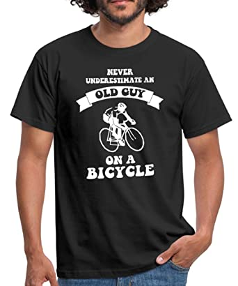 434616392 Spreadshirt Never Underestimate an Old Guy On A Bicycle Men's T-Shirt, S,