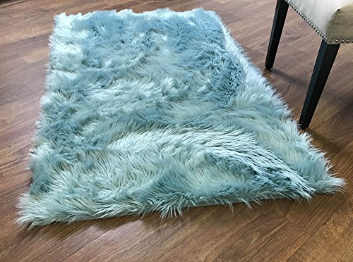 Super Area Rugs Soft Faux Fur Sheepskin Shag Silky Rug Baby Nursery Childrens Room Rug Teal, 3