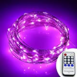 Fheimin® Dimmable Led String Lights Waterproof Copper Wire 33ft LED Starry Light with UL certified 12V Power Adapter with Remote Control For Christmas Wedding and Party, suitable for indoors or outdoors (Pink)