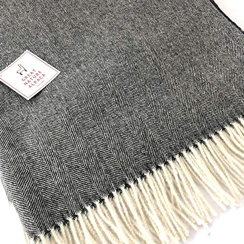 (100% Baby Alpaca throw herringbone colour)