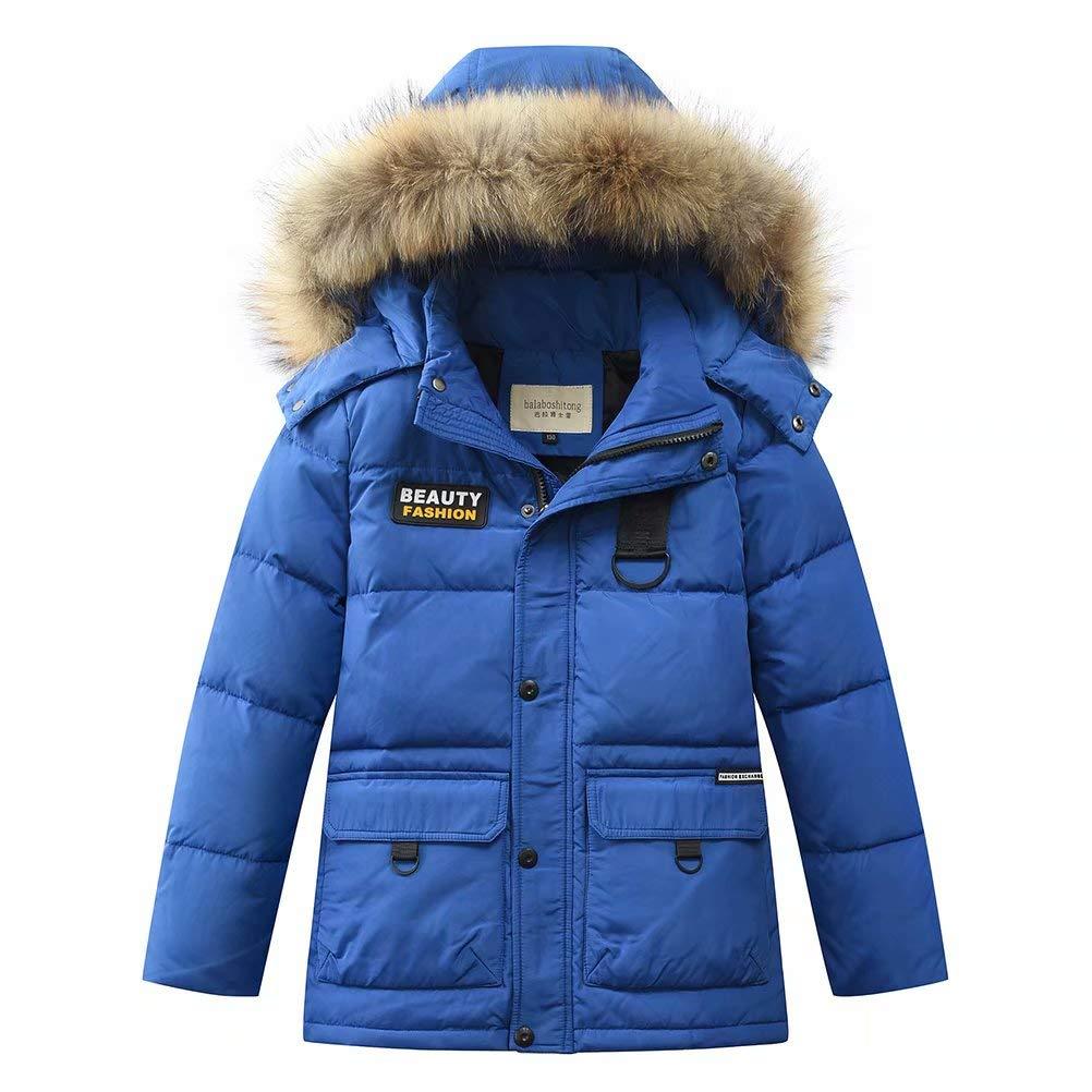 Z& Warm Big Boy's Winter Hooded Parka Down Coat Puffer Jacket Padded Overcoat with Fur Hood Mid-Long Z-1813