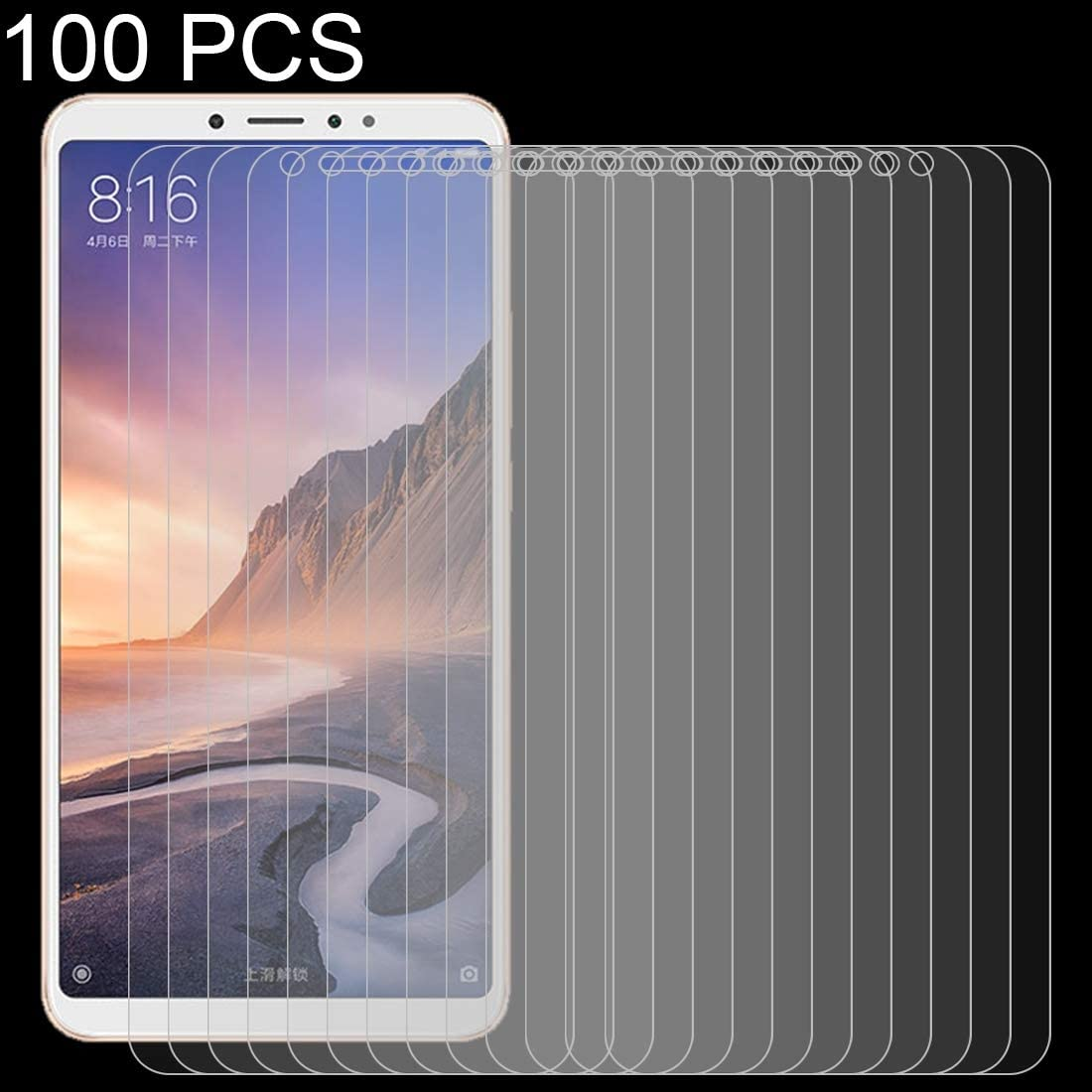 Dongdexiu Mobile Phone Accessories 100PCS 9H 2.5D Tempered Glass Film for Xiaomi Mi Max 3 Tempered Glass Film