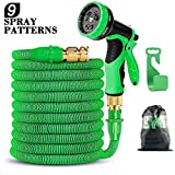 Expandable Garden Hose, Flexible Expanding Water Hose - 50ft Strongest Triple Latex Core with 3/4' Solid Brass Connector with Valve 9 Function Spray Nozzle Set Green