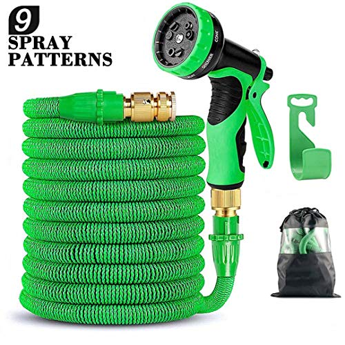 Expandable Garden Hose, Flexible Expanding Water Hose – 50ft Strongest Triple Latex Core with 3/4″ Solid Brass Connector with Valve 9 Function Spray Nozzle Set Green
