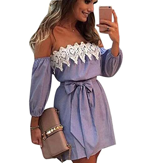 0c86d1373ae HODOD Women Off Shoulder Lace Slash Neck Striped Belt Bow Party Short Mini  Dress at Amazon Women's Clothing store:
