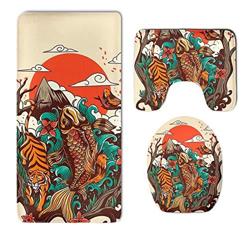 - Beach Surfers Autumn Sunset Koi Fish Bird Tiger 3 Piece Bathroom Mat Set Pedestal Mat+Lid Toilet Cover+Bath Mat Doormat Non-Slip Carpet Rug