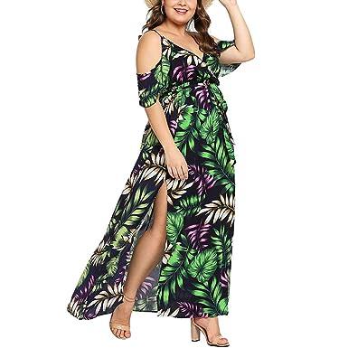 Women\'s Plus Size Cold Shoulder Floral Slit Hem Tropical ...