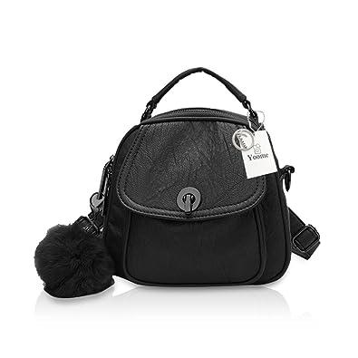 5a22db9072cc Amazon.com  Yoome Fashion Shoulder Bag Leather Wrinkle Female Backpack  Ladies Teenager Tote Handbag Black  Shoes