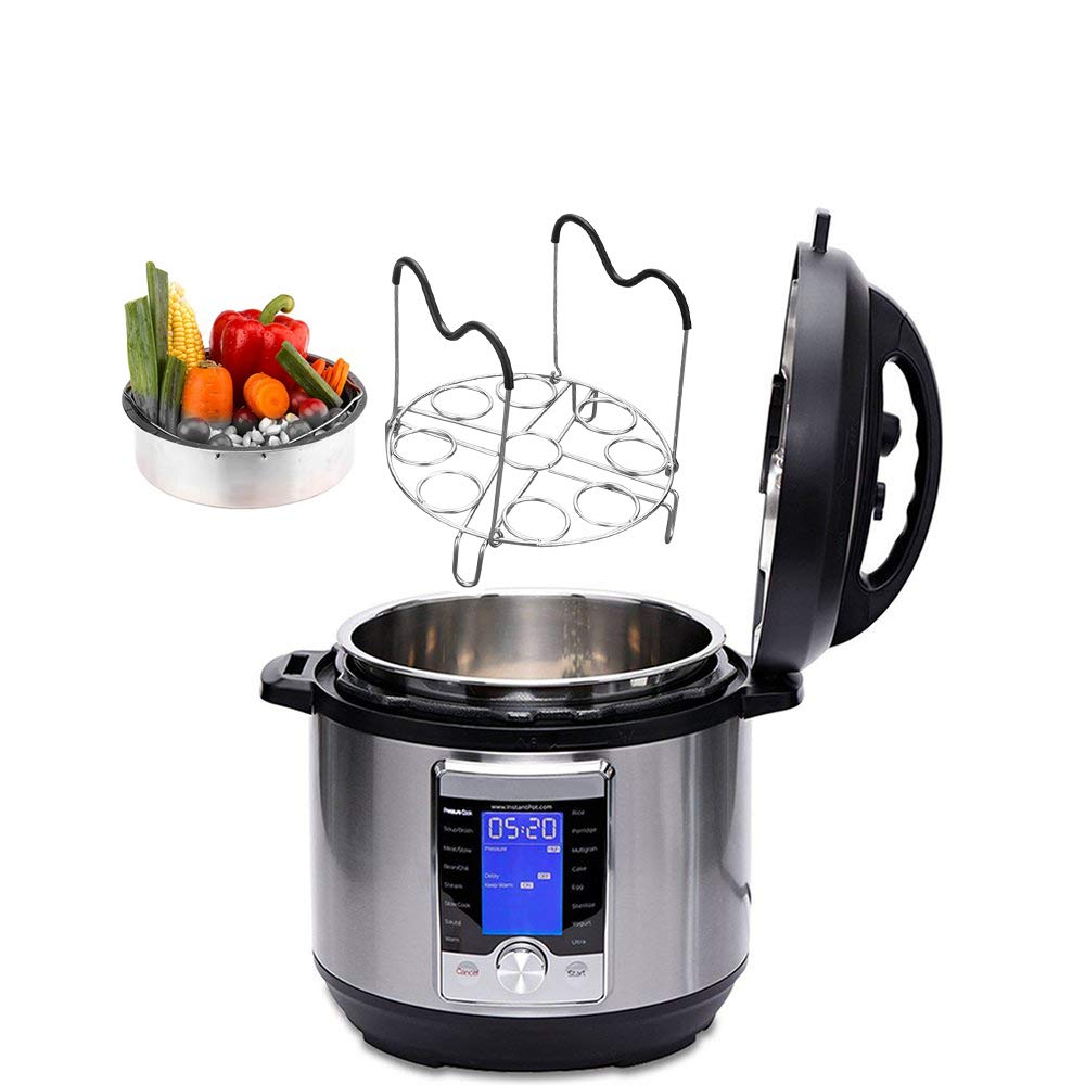 Trivet /& Other Pressure Cooker Pots wonuu egg instant pot rack Instapot 6qt Salbree 8qt Collapsible Stainless Steel Egg Steamer Rack Insert with silicone handle Fits Instant Pot Accessories IP Insta Pot