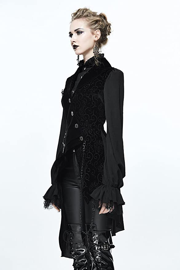 c6e569858da2a5 Devil Fashion Gothic Damen Mode Schwarz Vintage Sexy Spitze Langarm Tops  Jacke Steampunk Frauen Elegante Cocktails Party Unregelmäßigen Mantel (L):  ...