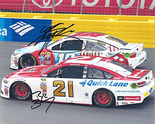 2X AUTOGRAPHED Kyle Busch & Ryan Blaney 2016 Sprint Cup Series (#18 M&Ms / #21 Motorcraft) Charlotte On-Track Racing Dual Signed Picture NASCAR 8X10 Inch Glossy Photo with COA