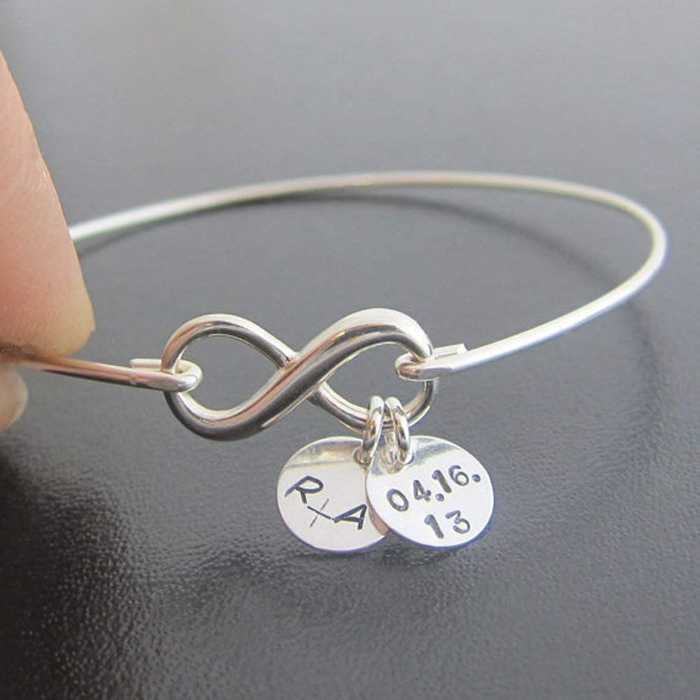 Jewelry Sets Glass Bracelet Silver Set of 1-10 Letter Personalized Gift Bridesmaid Stone Bridal Initial Mint Wedding