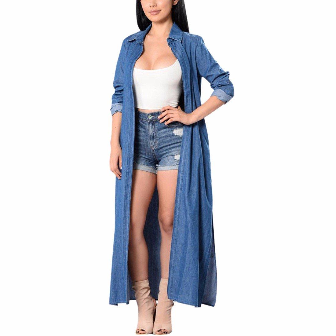 QIYUN.Z Women's Denim Long Coat Outwear Long Sleeve Open Front Cardigan E9015S0189/1ONE