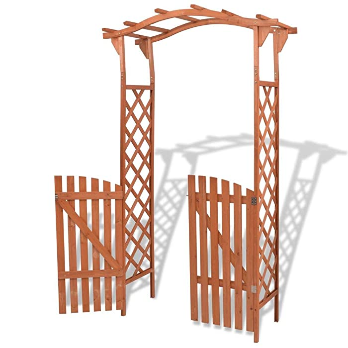 Festnight Wood Garden Arbor Arch Outdoor Patio Garden Gate Solid Wood