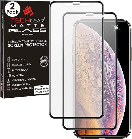 TECHGEAR [2 Pezzi Pellicola Antiriflesso per iPhone 11 PRO, iPhone XS, iPhone X - Opaca 3D Vetro Autentica Pellicola in Vetro Temperato Copertura ...