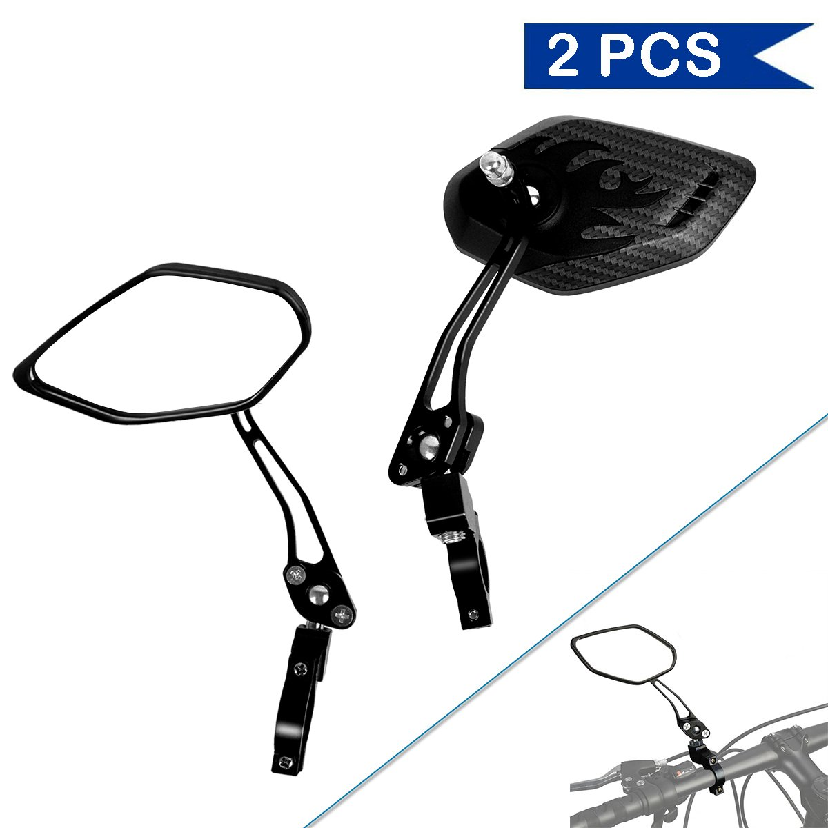 Bike Mirror, Veanic Universal Adjustable Rearview Handlebar Safety Glass Mirrors Lens for Mountain Road Cycling Bicycle Electric Bike - Pair