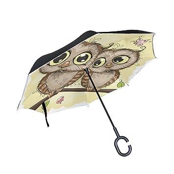 XiangHeFu - Paraguas invertido de Doble Capa, Dos Bonitos Búhos de Dibujos Animados, Plegable