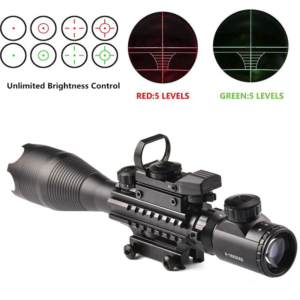 Luger Rifle Scope 4-16x50EG Dual Illuminated 4 Holographic Rangefinder Reticle Red/Green Dot Sight for Weaver Rail Mount by Luger