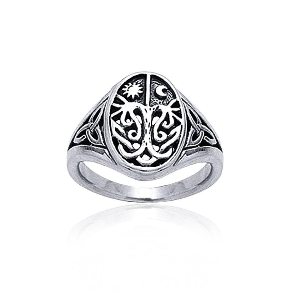 Celtic Antique Style Tree of Life Band Sterling Silver Ring by Bling Jewelry