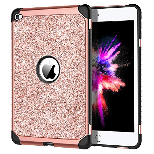 iPad Mini 4 Case, DOMAVER Luxury Glitter Shiny Girls Women Rose Gold iPad Mini 4 Retina Cases Slim Dual Layer Heavy Duty Hard PC Soft TPU Bumper Shockproof Protective Cover for iPad Mini 4