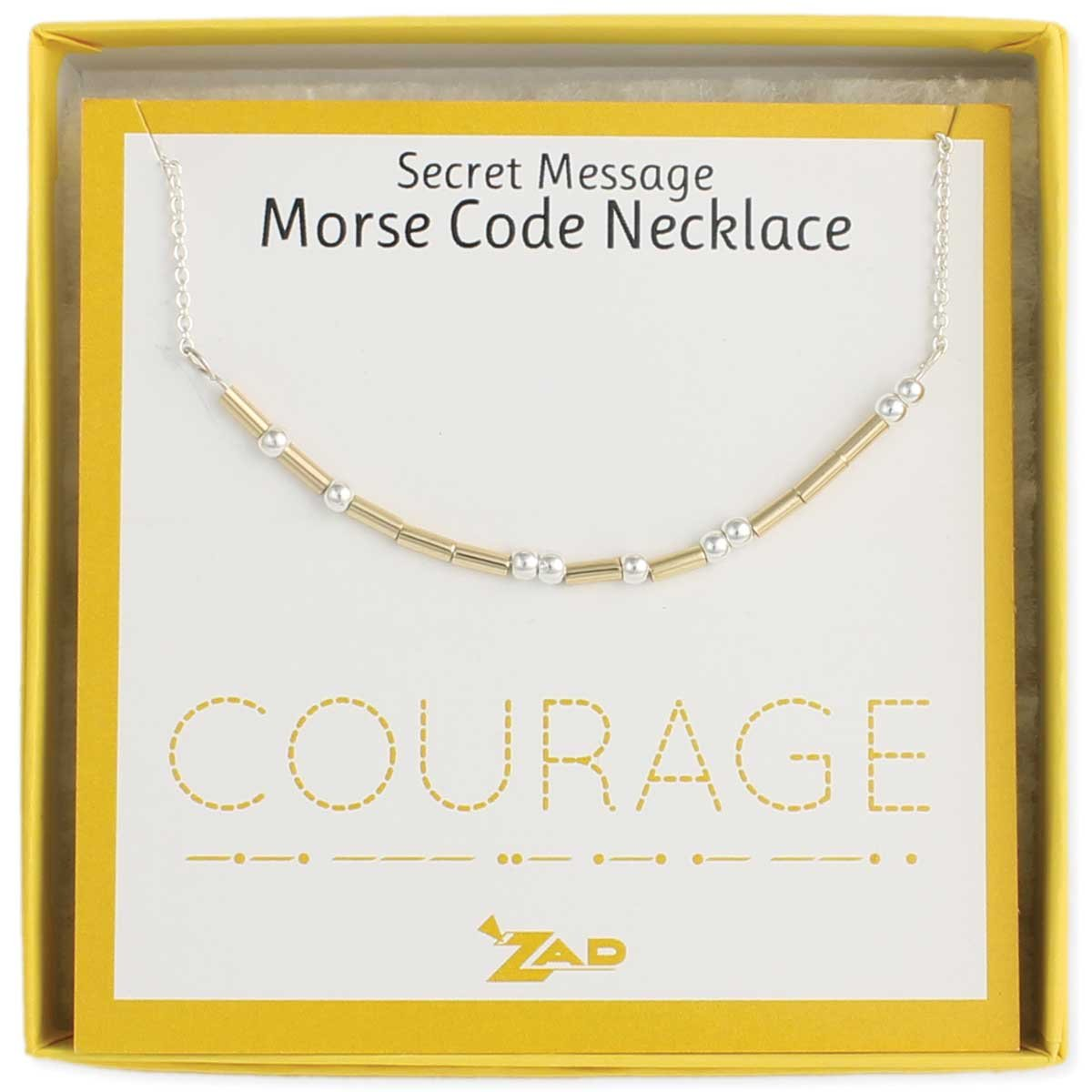 "Zen Styles Morse Code Necklace of 'COURAGE' - Inspirational Jewelry Secret Message Box Chain Necklace, Two-Tone, Adjustable 16'' - 18"" Inches"