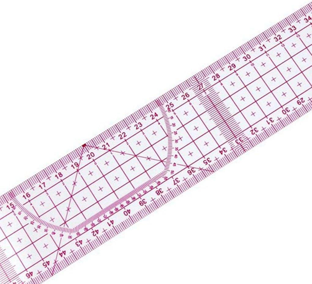 Couture sur mesure Accessoires 55cm Double c/ôt/é m/étrique partag/ée R/ègle droite Transparent