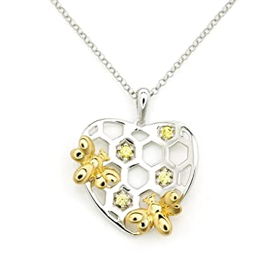 Amazon mblife 925 sterling silver yellow cz hearty honey bee mblife 925 sterling silver yellow cz hearty honey bee pendant necklace 20quot aloadofball Images