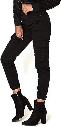 Noir Triple Xxx Pantalones Cargo Para Mujer Cintura Alta Color Negro Negro Negro 36 Amazon Es Ropa Y Accesorios