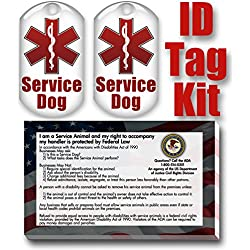 barkOutfitters Service Dog ID Tag Kit with 50 FREE ADA Information Cards That Explain Your Service Dog's Rights