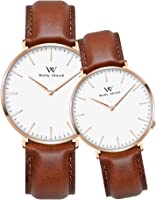 Welly Merck Couple Watches Valentines Day Gifts for Her and His Pair Watch Swiss Quartz 36 & 42 mm Interchangeable Band...