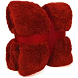New Large 130 x 180cms Teddy Soft Cuddly Fluffy Red Plain Throw Bed / Sofa Throwover Blanket