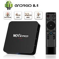TV Box Android 8.1 4K Boîtier TV [4GB RAM+32GB ROM] [2018 Dernière Version] SUPERPOW Smart TV Contrôle Vocal, Android Box avec HD/H.265 / 4K / 3D Cadeau pour Noel (MXQ Pro Max)