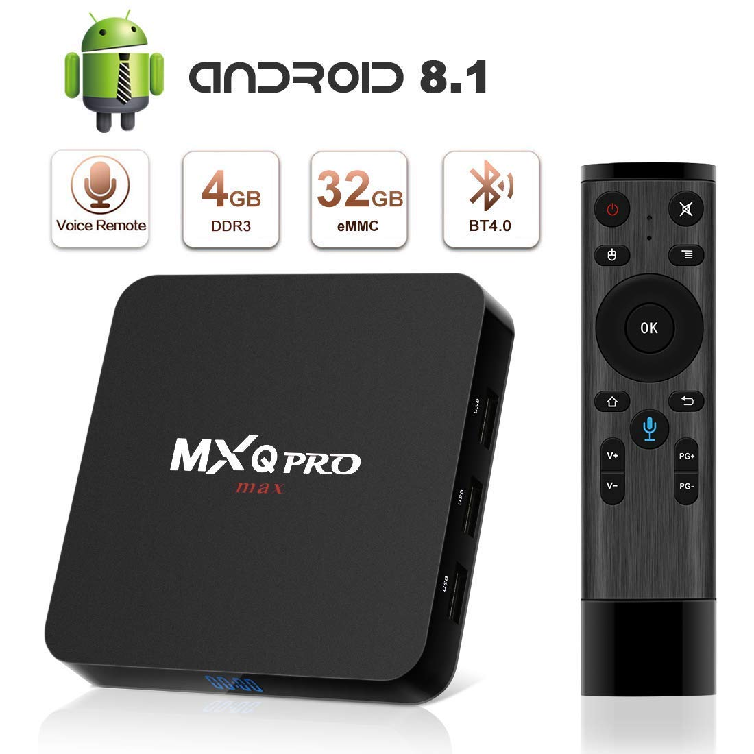 Android 8.1 TV Box, Superpow Smart TV Box Quad Core 4GB RAM+32GB ROM, BT 4.0, 4K*2K UHD H.265, HDMI, USB*3, WiFi Media Player, Android Set-Top Box con Voice Remote Control