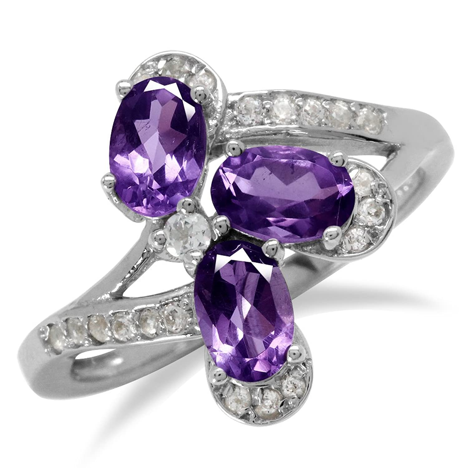 1.17ct. Natural Amethyst White Gold Plated 925 Sterling Silver Flower Ring