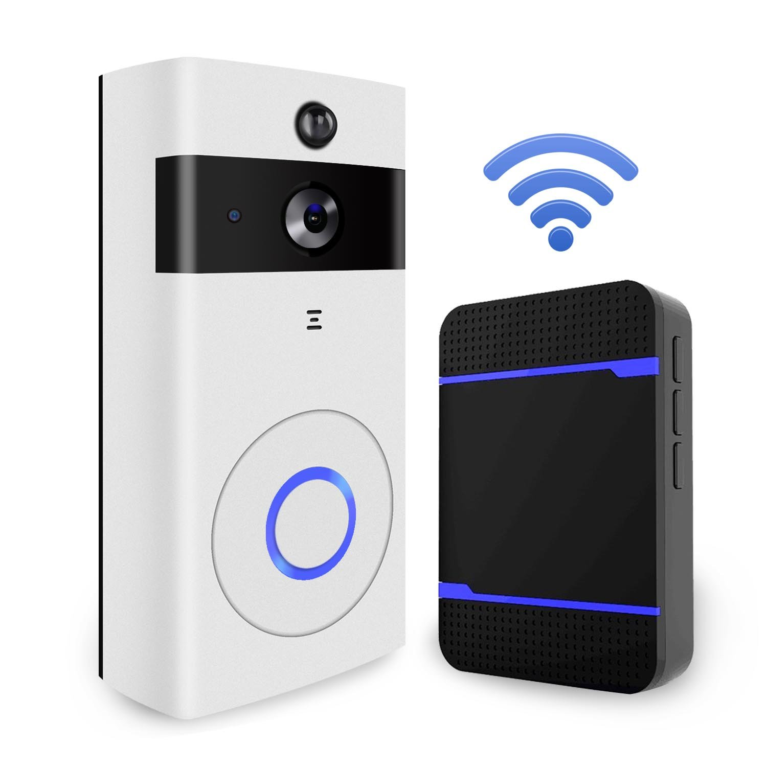WiFi Video Doorbell Camera, Wireless Doorbell Kit HD SecurityCamera with Chime and 8G SD Card, PIR Motion Detection, Night Vision,Real-time Two-Way Talk for Home and Office,Support iOS and Android