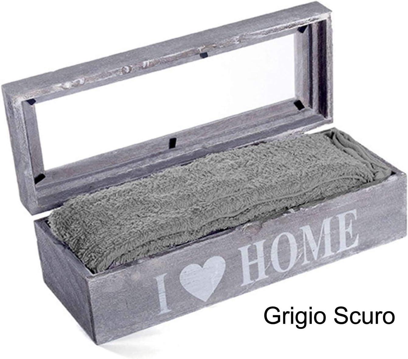 Grigio Scuro CASA TESSILE Lavette Set 4 Pezzi in Cestino with Love
