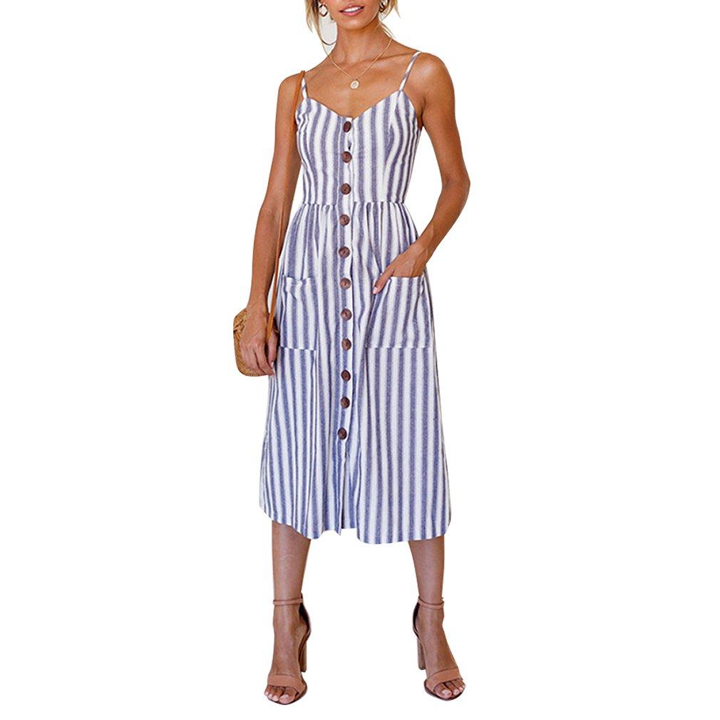 ZOEREA Women's Midi Dress Sundresses for Women Floral Prints Summer Clothing for Women Small
