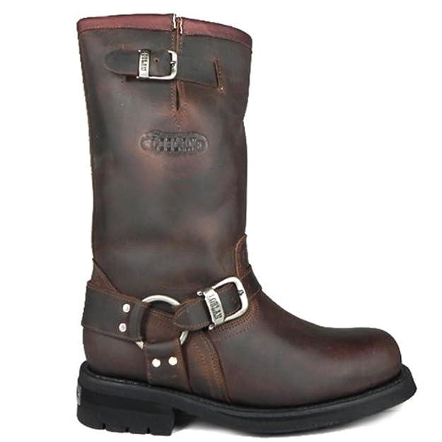 LOBLAN 501 Brown Waxy Leather Mens Biker Bike Boots Classic Round Toe HAND  MADE (Mens UK 9 / EU 43): Amazon.co.uk: Shoes & Bags