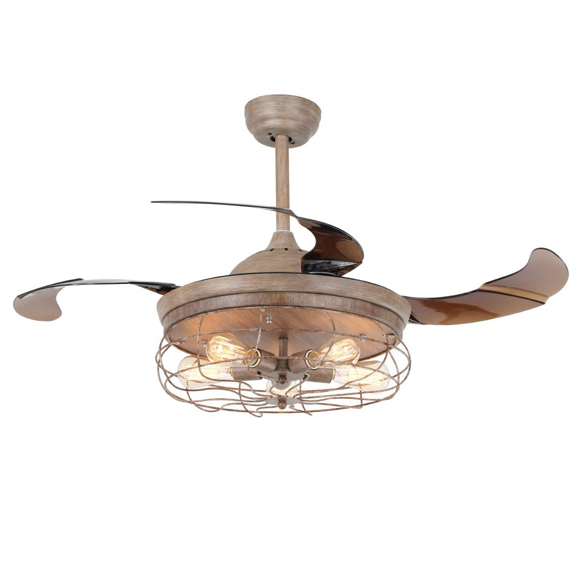 Parrot Uncle Ceiling Fans with Lights 42'' Vintage Farmhouse Fan Industrial Chandelier Fans with Retractable Blades, Remote Control, 5 Edison Bulbs Needed, Weathered Oak Wood